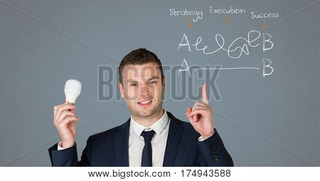 Conceptual image of businessman holding a electric bulb