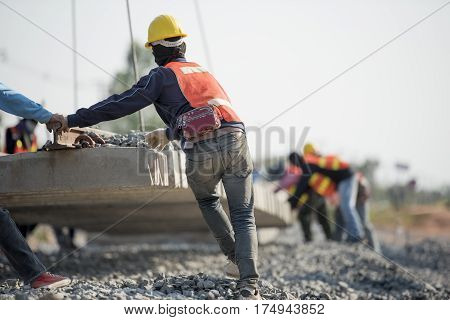 construction worker in construction site safety uniform