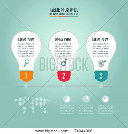 Lightbulb Creative Concept For Infographic. Business Concept With 3 Options, Steps Or Processes.