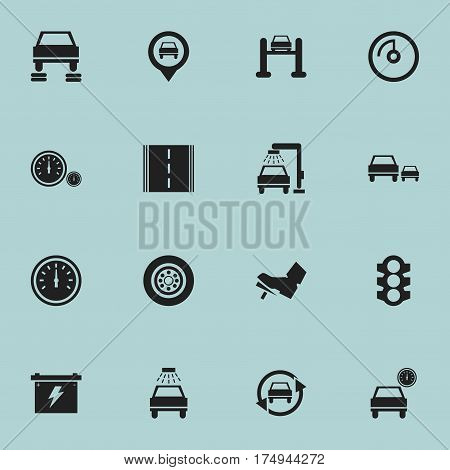 Set Of 16 Editable Vehicle Icons. Includes Symbols Such As Stoplight, Tuning Auto, Speed Display And More. Can Be Used For Web, Mobile, UI And Infographic Design.