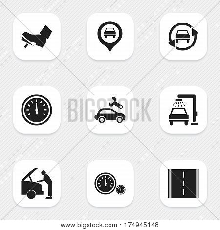 Set Of 9 Editable Traffic Icons. Includes Symbols Such As Pointer, Automotive Fix, Treadle And More. Can Be Used For Web, Mobile, UI And Infographic Design.
