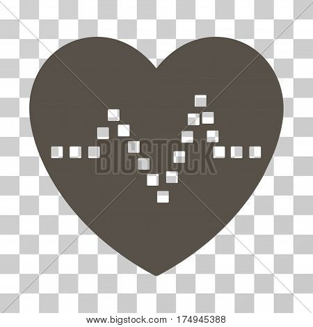 Heart Pulse icon. Vector illustration style is flat iconic symbol, grey color, transparent background. Designed for web and software interfaces.