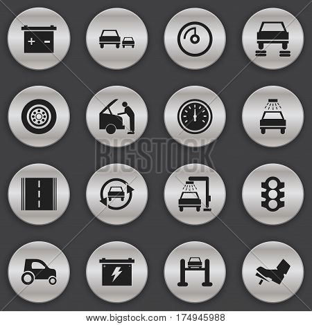 Set Of 16 Editable Transport Icons. Includes Symbols Such As Auto Service, Vehicle Car, Car Lave And More. Can Be Used For Web, Mobile, UI And Infographic Design.