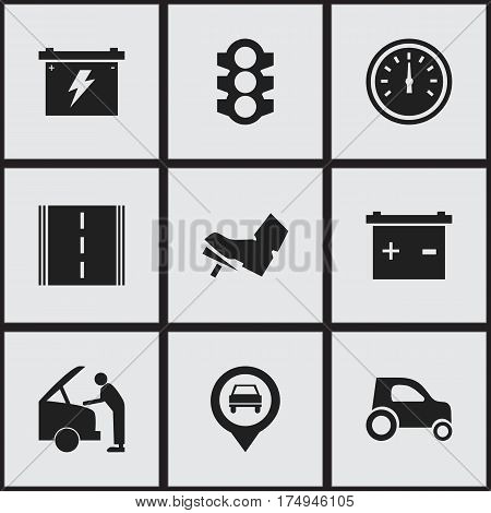 Set Of 9 Editable Car Icons. Includes Symbols Such As Stoplight, Highway, Accumulator And More. Can Be Used For Web, Mobile, UI And Infographic Design.