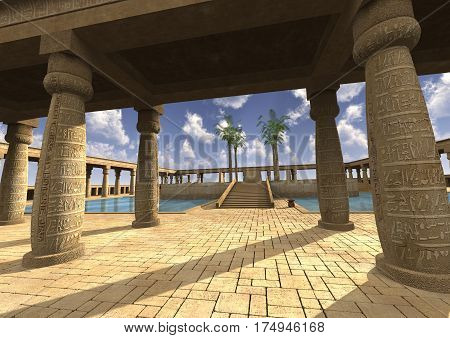 3D rendering of a Egyptian palace sunny day