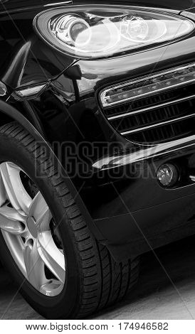 Part Of Car Model. Black And White.