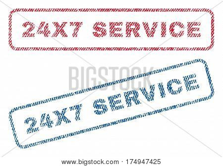24X7 Service text textile seal stamp watermarks. Blue red fabric vectorized texture. Vector caption inside rounded rectangular shape. Rubber sticker with fiber textile structure.