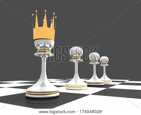 Leadership concept. chess pawn. 3d rendered illustration