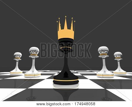 Leadership concept. chess pawn wth crown. 3d rendered illustration