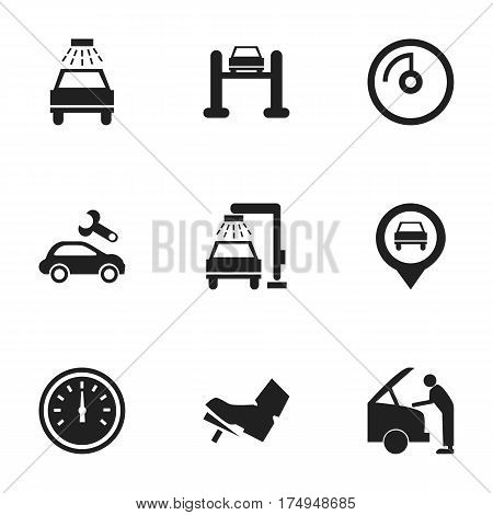 Set Of 9 Editable Transport Icons. Includes Symbols Such As Auto Service, Car Fixing, Treadle And More. Can Be Used For Web, Mobile, UI And Infographic Design.