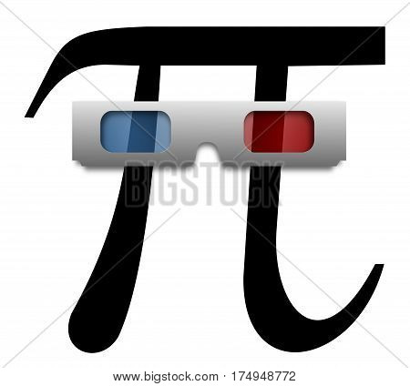 pi with 3D white glasses, Greek letter,