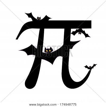 Pi with four black bats, Greek letter,