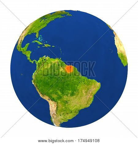 Suriname Highlighted On Earth