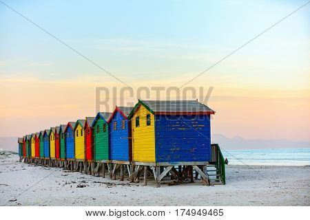 Famous colorful huts of Muizenberg beach near Cape Town in South Africa