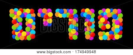 Vector Happy Purim carnival text with colorful rainbow colors paper confetti isolated on black background. Purim Jewish holiday.