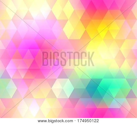 Colorful gradient hexagonal seamless pattern in bright rainbow colors. Abstract geometric smooth image. Easy editable illustration for spring and summer designs of textile, wallpaper, package or wrap.