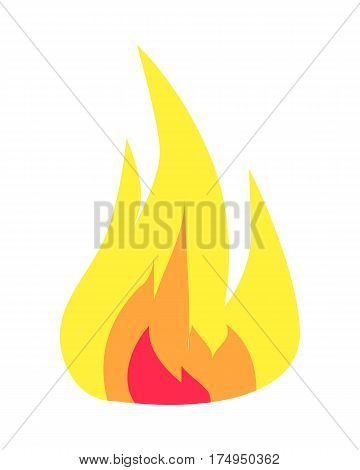Burning flame icon isolated on white background. Hand drawn doodle colourful blazing hot bonfire in cartoon style. Vector illustration of bright red, orange and yellow waves of fire. Quick light up