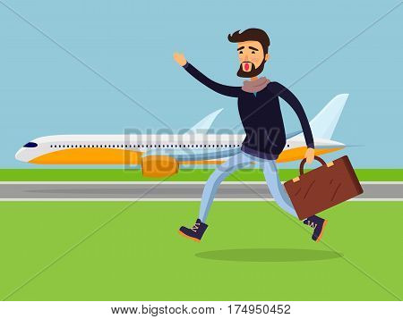 Young man with brown suitcase running to passenger plane. Male person isolated in black jacket and jeans is late for airplane and tries to gain it on. Vector illustration of lateness in cartoon style
