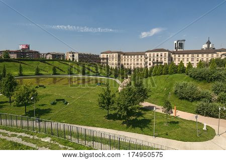 MILAN, ITALY - AUGUST 14, 2016: Milan (Lombardy Italy): park in the new Portello area at summer