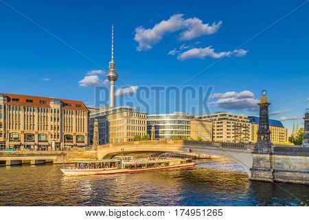 Berlin Skyline With Ship On Spree River At Sunset, Central Berlin Mitte, Germany