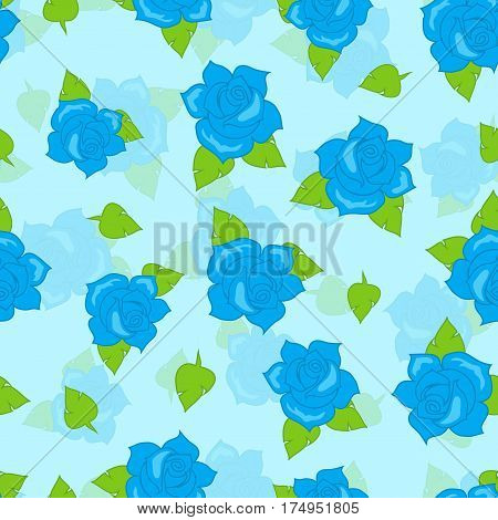 Blue rose with green leaves seamless pattern. Illustration of isolated big blossoms in cartoon style walllpaper, wrapping paper. Fashion decoration endless texture. Floral embellishment. Vector poster