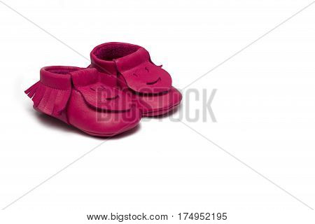 Childs Dark Pink Booties On A White Background