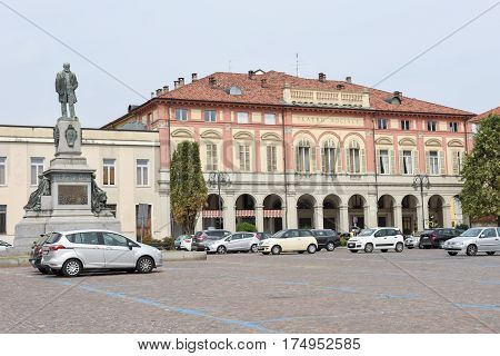 Central Square With Theater Building At Biella On Italy