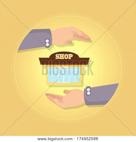 Nice brown and yellow shop on background vector illustration in flat style. Store has two big square windows and glass double door. Two hands present new storehouse. Safety insurance concept.