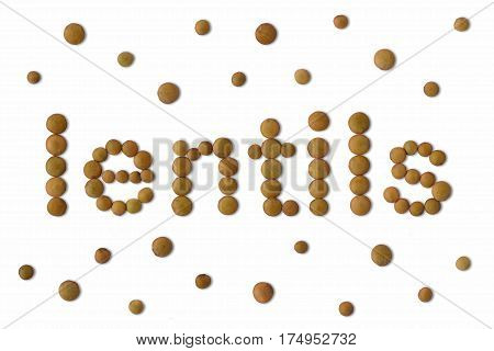 The word Lentils written with lentil seeds