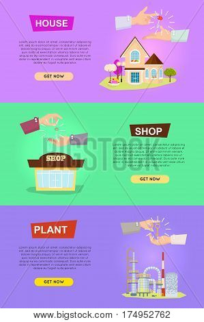Set of vector illustrations with hands passing keys. Process of buying, selling house shop plant. E-commerce concept of shopping or renting in cartoon design. Sales web banner in flat style.