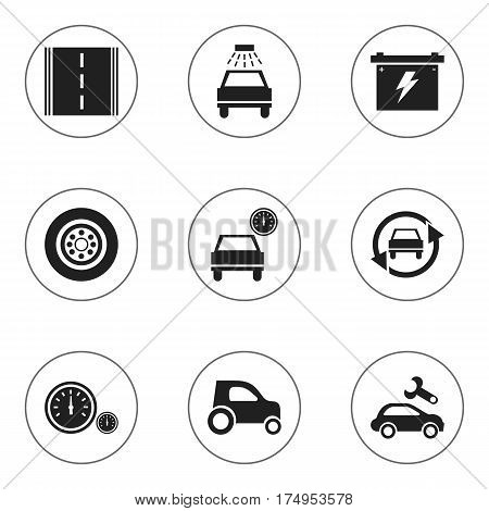Set Of 9 Editable Vehicle Icons. Includes Symbols Such As Car Lave, Tire, Battery And More. Can Be Used For Web, Mobile, UI And Infographic Design.
