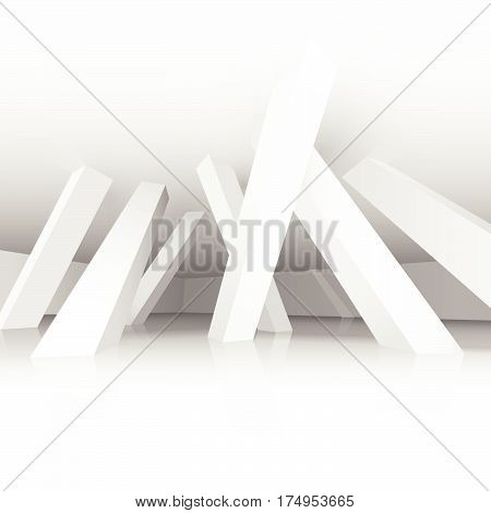 3d vector illustration. White modern interior of a non-existent room with inclined in different directions supporting columns. Architectural background with empty space.