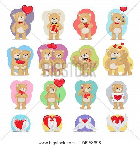 Valentines day set. Bears and doves in love. Teddy bears boy, girl, couples with hearts and lovely pigeons symbols of eternal love. Vector toys kissing, giving presents, speaking on telephone.