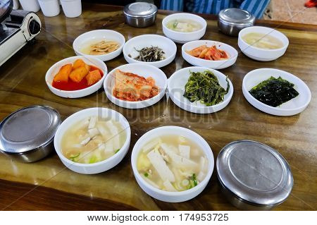 Korean Tradition Side Dishes Cuisine Set In Restaurant