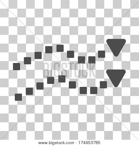 Dotted Trend Lines icon. Vector illustration style is flat iconic symbol, gray color, transparent background. Designed for web and software interfaces.