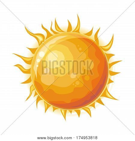 Sun isolated. Star at center of Solar System. Perfect sphere of hot plasma, with internal convective motion generating magnetic field via dynamo process. Important source of energy on Earth. Vector