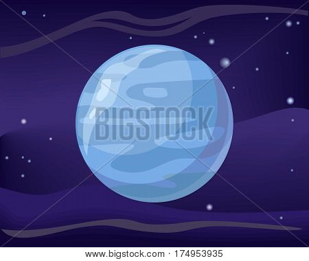 Gas planet Neptune in space star background. Element of solar system. Cosmic galaxy background with bright shining stars. Solar system. Isolated planet. Blue planet. Vector illustration.