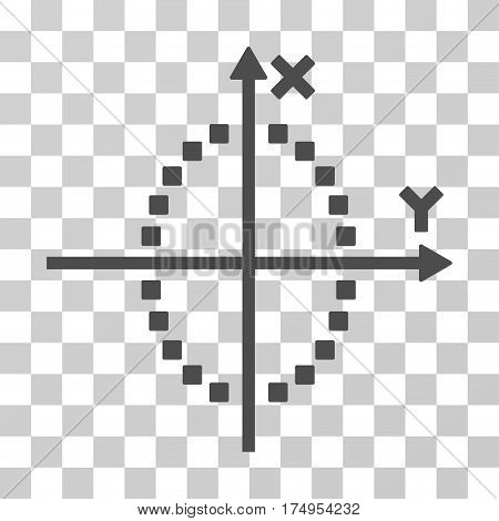 Ellipse Plot icon. Vector illustration style is flat iconic symbol, gray color, transparent background. Designed for web and software interfaces.