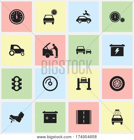 Set Of 16 Editable Vehicle Icons. Includes Symbols Such As Stoplight, Automotive Fix, Highway And More. Can Be Used For Web, Mobile, UI And Infographic Design.