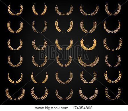 Vector wheat wreath set. Golden flat circle award wreaths isolated on black background for achievement design