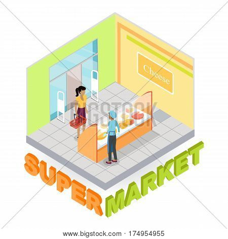 Supermarket cheese department interior in isometric projection. Customer choosing goods in grocery store trading hall vector illustration. Daily products shopping concept isolated on white background