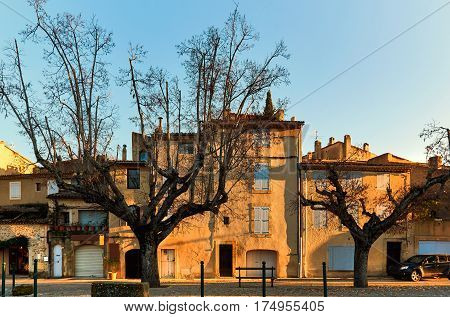 Ancient architecture of Lourmarin. Listed as the most beautiful villages of France. Provence-Alpes-Cote d'Azur.