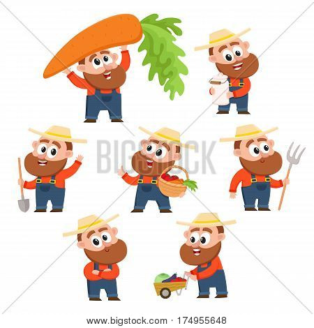 Funny farmer, gardener character in different poses working in the garden, harvesting, happy, cartoon vector illustration isolated on white background. Set of comic farmer characters, design elements