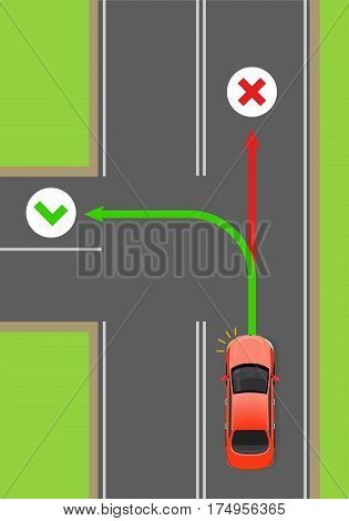 Car left turn with turned light signal flat vector illustration. Road rule violation example on top view diagram. Traffic offences concept. Driving theory lesson. For driving courses test illustrating