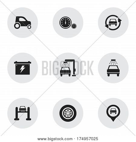 Set Of 9 Editable Car Icons. Includes Symbols Such As Tire, Battery, Car Lave And More. Can Be Used For Web, Mobile, UI And Infographic Design.