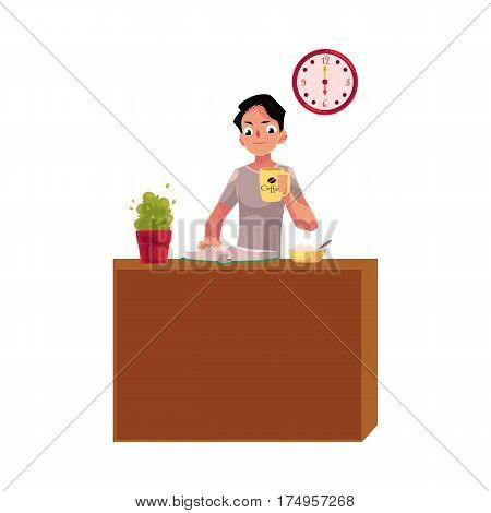 Businessman having early breakfast at home, holding cup of coffee while reading a book, cartoon vector illustration isolated on white background. Businessman, student having breakfast while reading
