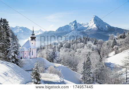 Church Of Maria Gern With Watzmann In Winter, Berchtesgadener Land, Bavaria, Germany