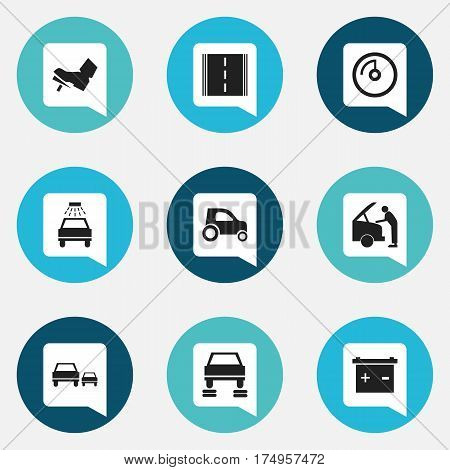 Set Of 9 Editable Car Icons. Includes Symbols Such As Treadle, Vehicle Car, Accumulator And More. Can Be Used For Web, Mobile, UI And Infographic Design.