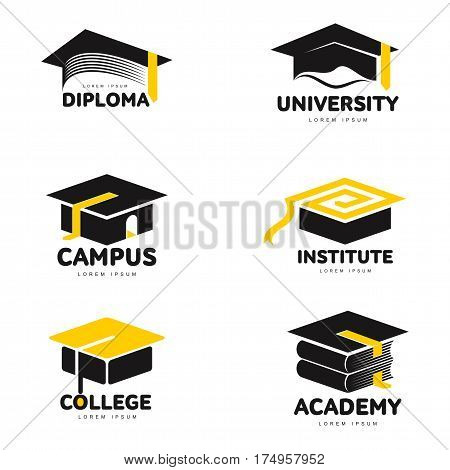 Set of graphic, black and white square academic, graduation cap logo templates, vector illustration isolated on white background. Stylized graphic graduation cap logotype, logo design