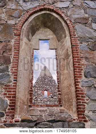 Window Of An Old Roofless Church Ruins On A Beautiful Sunny Mid-summer Day In Finland